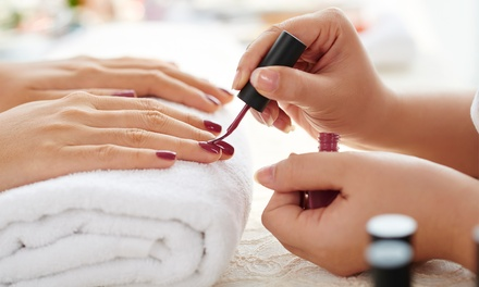 Classic or Gelish Mani Pedi or Gel Extension with Classic Colour at Glamours Touch Ladies Salon (Up to 67% Off)