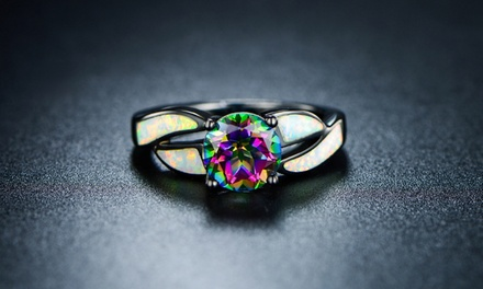 Genuine Topaz And Fiery White Opal Ring Groupon