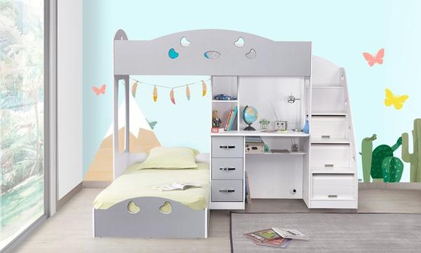 lit mezzanine combine junior avec dressing bureau integre et matelas 90 x 190 cm en option
