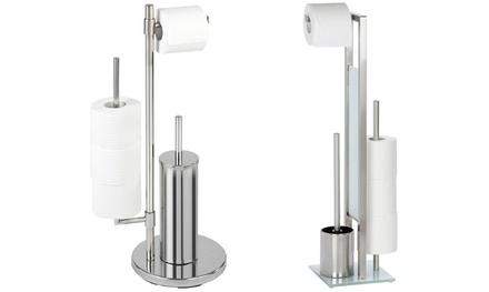 Piantana per bagno porta rotolo e scopino con porta rotolo di emergenza Wenko disponibile nel modello Neo o Rivalta