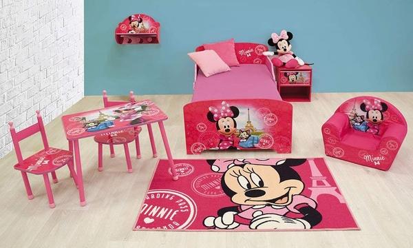 meubles ma chambre disney minnie lit une table de chevet et une table rectangulaire avec 2 chaises