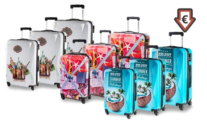 Leichte Koffer Reise Trolley Set Kofferset Vier Grossen Mit Hartschale Und Motiv Ebay