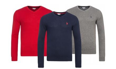 US Polo Assn V Neck Pullover aus Baumwolle in der Farbe und Größe nach Wahl