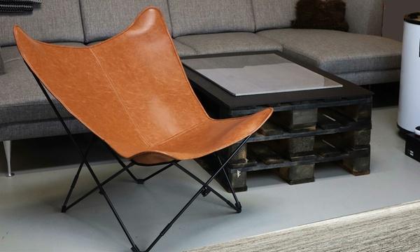 fauteuil papillon en cuir