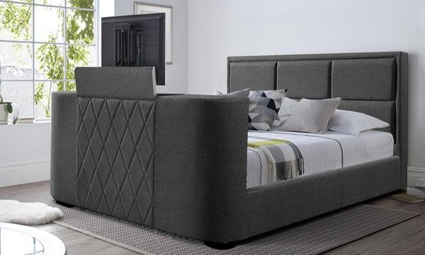 lit en tissus avec meuble tv integre et matelas en option sampur livraison offerte