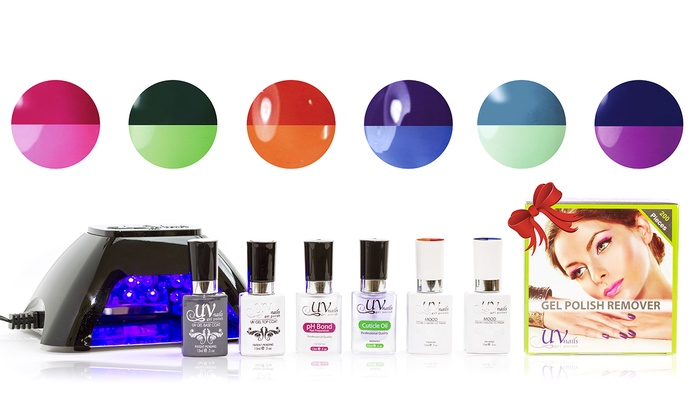 Uv Nails Mood Changing Gel Nail Polish Starter Kit With Remover Wraps