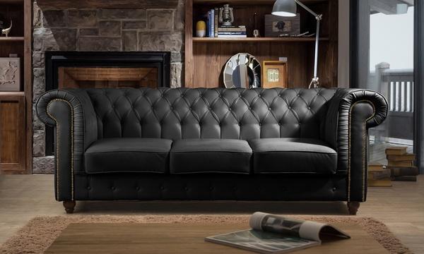 fauteuils ou canapes cuir chesker capitonne livraison gratuite