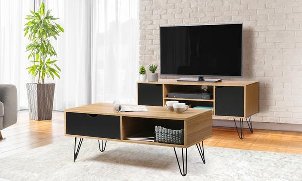 meuble tv et table basse scandinave avec pieds epingle