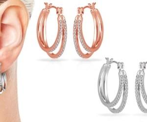 1x oder 2x Philip Jones Damen-Ohrringe in Silber und/oder Rotgold, verziert mit Kristallen von Swarovski®