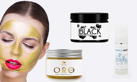 Maschera Efory Cosmetics peel off Carbon Black da 150 ml, Bubble Mask da 30 ml e Maschera peel off Oro 24K da 150 ml