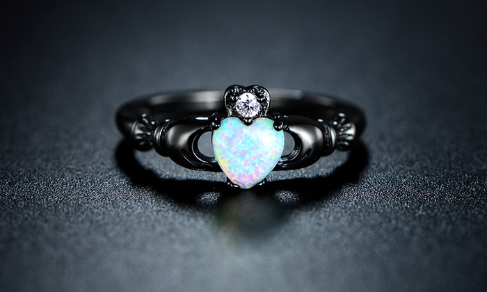 Womens White Opal Irish Claddagh Ring Groupon