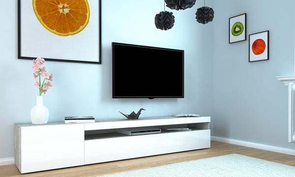 meuble tv potenza 200 cm blanc laque