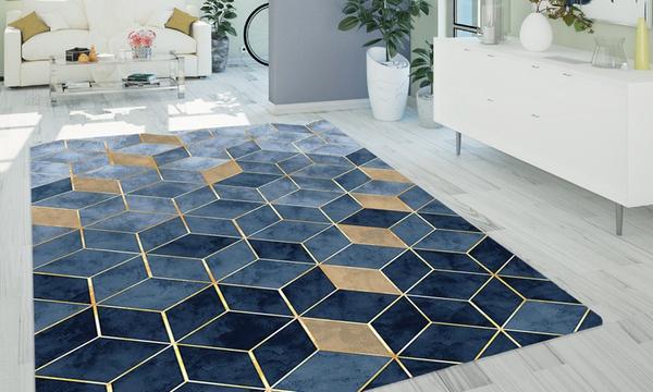 tapis antiderapant luxe a motifs geometriques