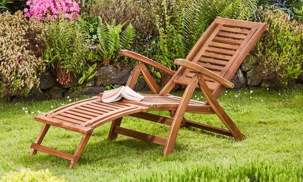 chaise longue pliable en bois d acacia