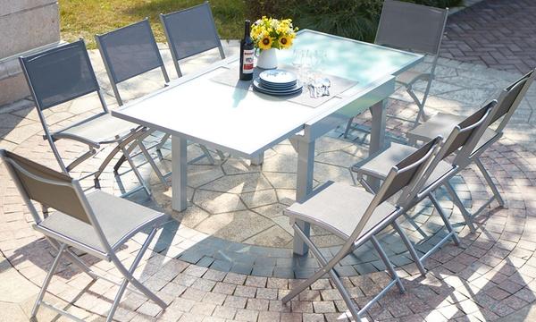 table de jardin a rallonge alu verre trempe 8 personnes avec 4 ou 8 chaises textilene