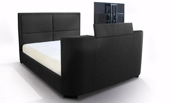 un lit double avec support tv integre pour votre television livraison incluse
