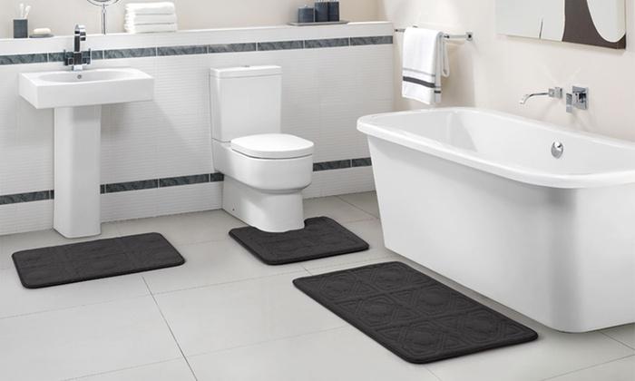 embossed memory foam bath rug set (3-piece) | groupon