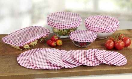 Set di 12 coperchietti a quadretti con elastico Wenko