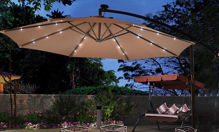 10 hanging solar powered led patio umbrella