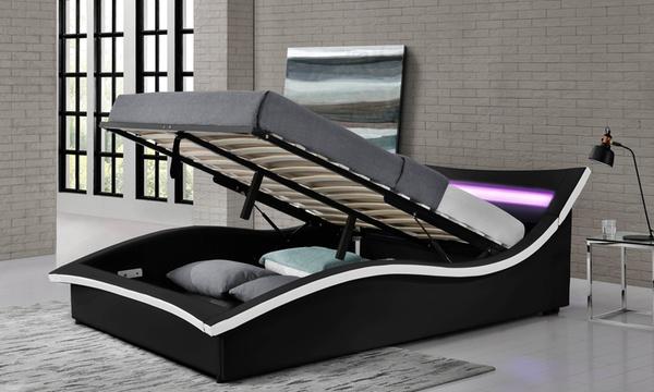lit coffre led avec ou sans matelas coloris et tailles aux choix des 379 90 jusqu a 62 de reduction