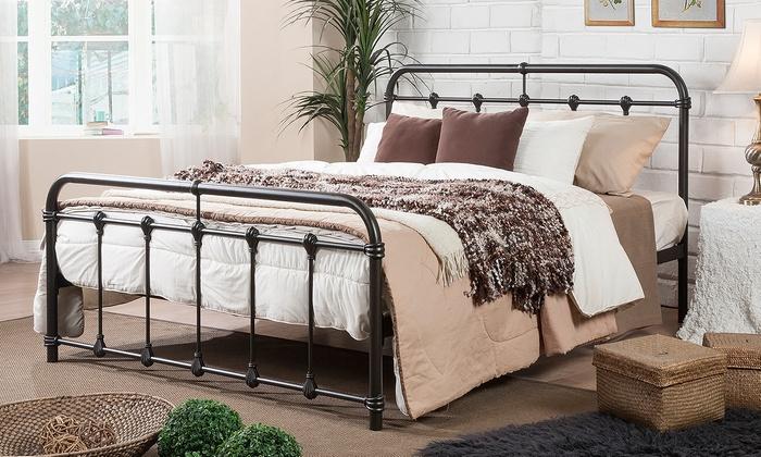 Mandy Queen-Size Victorian Dark Bronze Metal Platform Bed