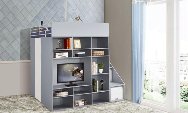daron lit combine 1 couchage 140x190 cm penderie meuble tv matelas en option livraison offerte