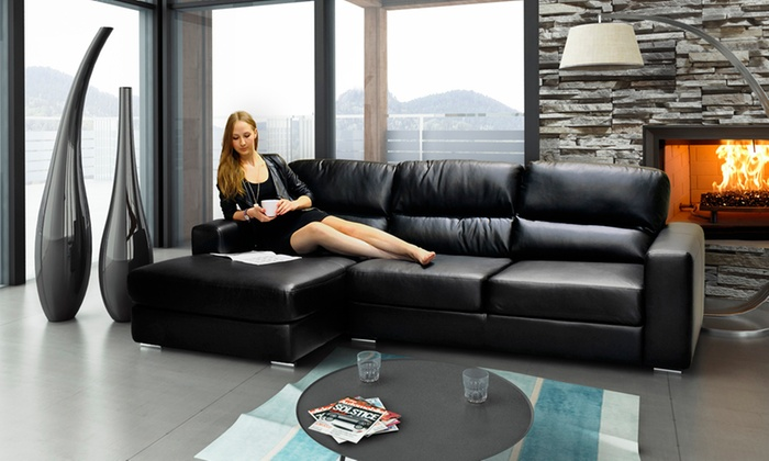 Naples Chaise Leather Sofas Groupon Goods