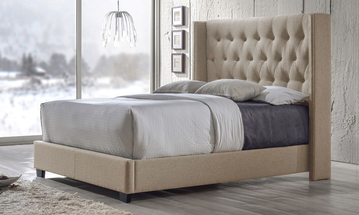 Curtin Upholstered Wingback Bed