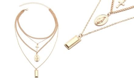 1x Collana stratificata con 3 pendenti: Argento