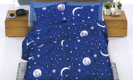 Completo letto e copripiumino in cotone disegno Luna Made in italy disponibili in 3 misure