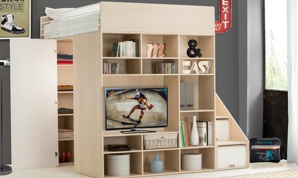 lit combine tony avec 2 places 1 couchage penderie meuble tv avec matelas en option