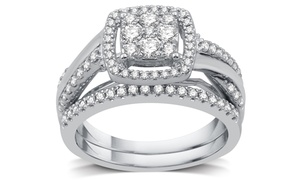 image for 3/4 CTTW Diamond Cluster Bridal Ring Set in Sterling Silver (2-Piece)