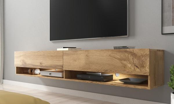meuble de television mural suspendu wander avec led en option