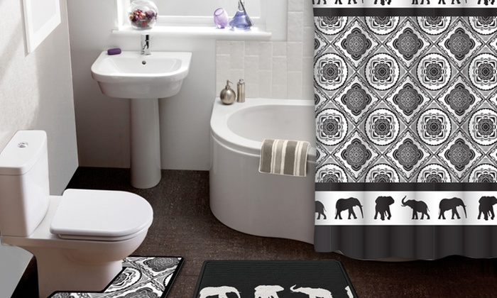 elephant parade 15-piece shower curtain and bath rug set | groupon