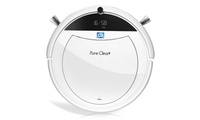 Pure Clean Smart Programmable Robot Vacuum Cleaner Robot learns the layout of your home and cleans in S path to more efficiently cover large areas on a single charge. Navigation feature remembers the location of the docking station for improved performance in large rooms  Keep your home quiet and peaceful. Programmable scheduler self activation automatically runs vac at any scheduled time while you are away. Adjust robot settings from built in LCD screen or wireless remote The robot vacuum seeks the charging dock after it is finished or on low battery - Built-in 2000mAh rechargeable battery allows for 90 minutes of cleaning before returning to the electric charger  Smart vacuum sweeper has built-in IR sensor preventing it from running off ledges and from directly running into obstacles. Great for cleaning tile, hard carpet and hardwood floor. Attachable dry mop allows vacuum robot to pick up fine dust particles.  Powerful 24w suction and dual rotating sweepers eliminate the need for rotating underbrush - no clogging or malfunction caused by cat or dog hair! Hepa filter is great for allergies and catches fine particles and keeps them locked away in the easy to clean dust bin. Replacement dustbin filter and side sweepers keep your robot running at optimum efficiency Pure Clean Smart Programmable Robot Vacuum Cleaner White      Condition: New      Dimensions: 12.0 inches (H) x 12.0 inches (W) x 3.0 inches (L)      Weight: 5.0 pounds        Made in United States