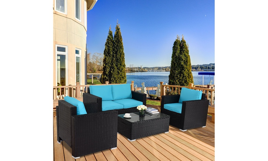 gymax 4pc rattan patio furniture set outdoor rattan wicker with blue cushion