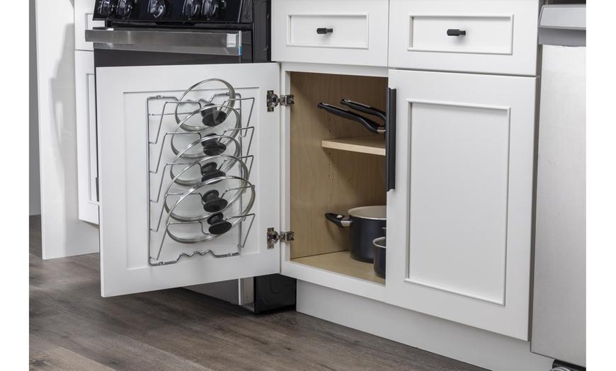 wall door mount pot lid rack pan lid organizer holder chrome finish