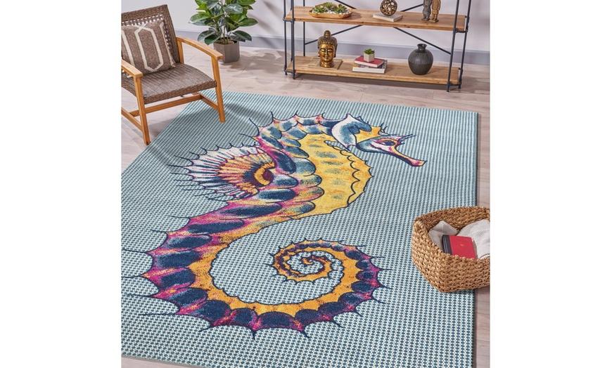 lr home tropical seahorse multicolor 5x7 or 8x10 indoor outdoor rug