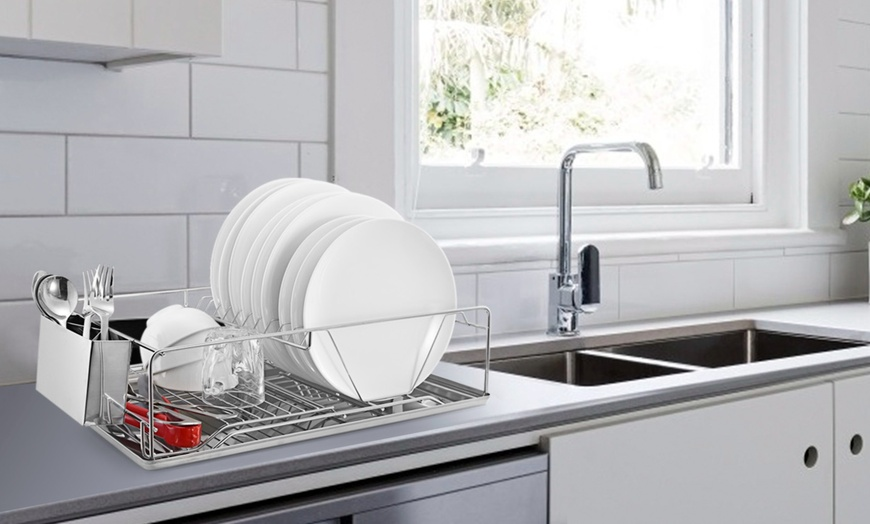 imountek stainless steel dish rack with side cup and drain board