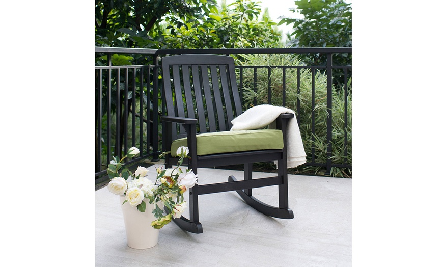 rocking chair black delahey wood outdoor home porch furniture