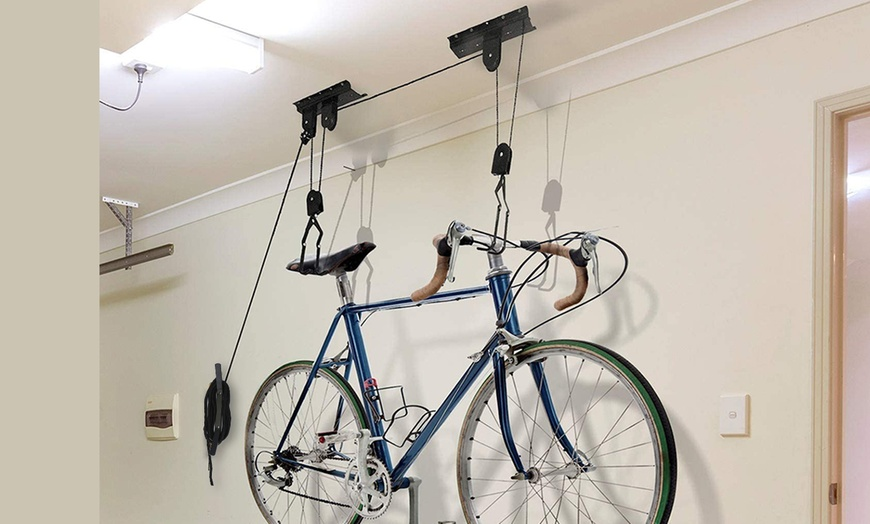 imountek heavy duty bike lift hoist ceiling storage mount pulley rack