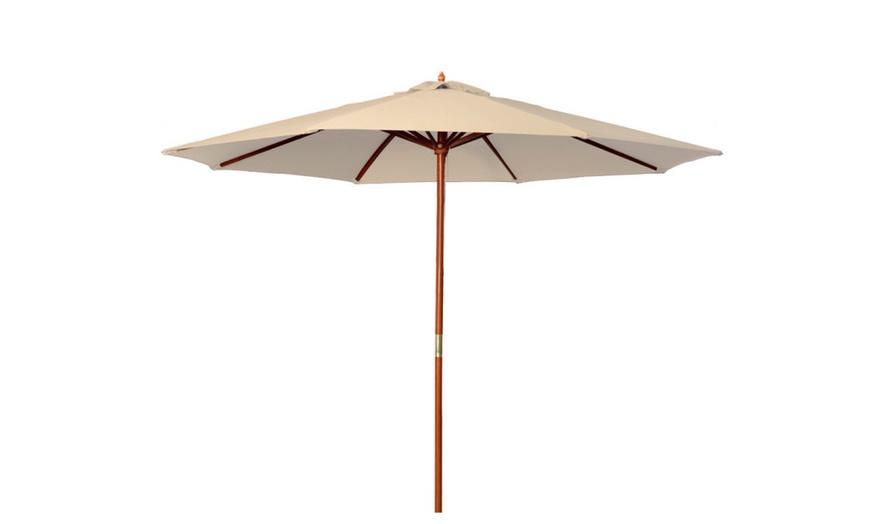 9 ft wooden patio umbrella wood pole outdoor pool beach sun shade
