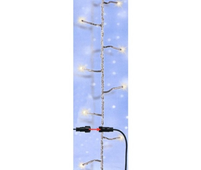 96 Twinkling Warm White Led Christmas Lights Clear Wire