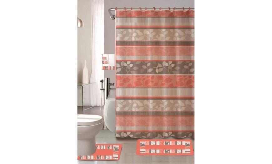 18 piece bathroom set 2 rugs 1 shower curtain 12 rings 3 decorative towel set