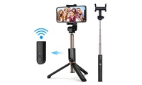 Selfie Stick Tripod Mini Extendable  Bluetooth Selfie Stick with Remote Control Built-in Bluetooth remote (Max remote range:33ft), you can take wonderful selfie-photography, group photos or shoot memorable video wherever you are travelling, wedding and graduations. The 65mAh rechargeable lithium battery can capture up to 30000 photos after full charge within 30 - 45 minutes, keep working for 24 hours, last up to 3 months in standby mode.The selfie stick is weighed 150g(5.3oz), 7.8'' folded size, convenient for you take it in your pocket or bag when outside,easy to carry. The extendable length is between 10.6-26'', short length for intimate shots and longer length to get wider scenery.270°rotation head with an adjustable knob + 360° rotating phone holder, you can rotate it and select horizontal or vertical camera mode to get the best angle photos,meet your different needs.Specification:1.Weight: 150g (5.3 oz)2.Material: Aluminum alloy3.Battery capacity: 65mAh(Li-polymer, Micro Port Charging)4.Charging time: 30-45 mintues5.Using time:24 hours6.Wireless range: 33ft7.Folded height: 7.8''8.Max Extended Length: 26''(include clamp max length: 3.2'')9.Cellphone holder: Largest Width:3.42''. Suitable for 6 inches or less cellphone.Connection Ways:1. Long press for 3 seconds to open the Bluetooth of the selfie stick tripod and then open your phone's Bluetooth.2. Search the Bluetooth name