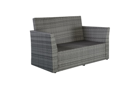Outdoor Wicker Rattan Furniture Set Patio Cushioned Seat Gray 4 Pieces