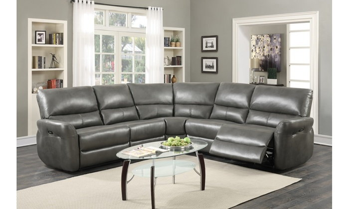 amaris bonded leather 5 piece power reclining sectional sofa with usb ports