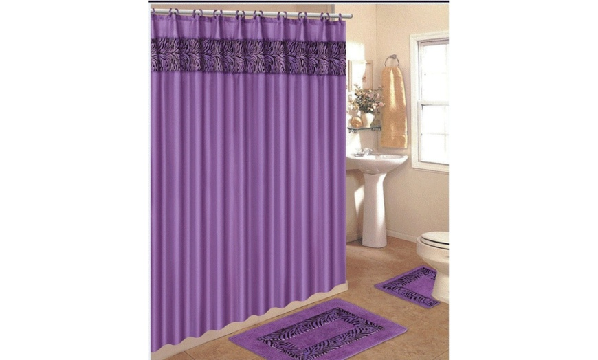 4 piece bath rug set bathroom rug contour mat shower curtain and matching rings