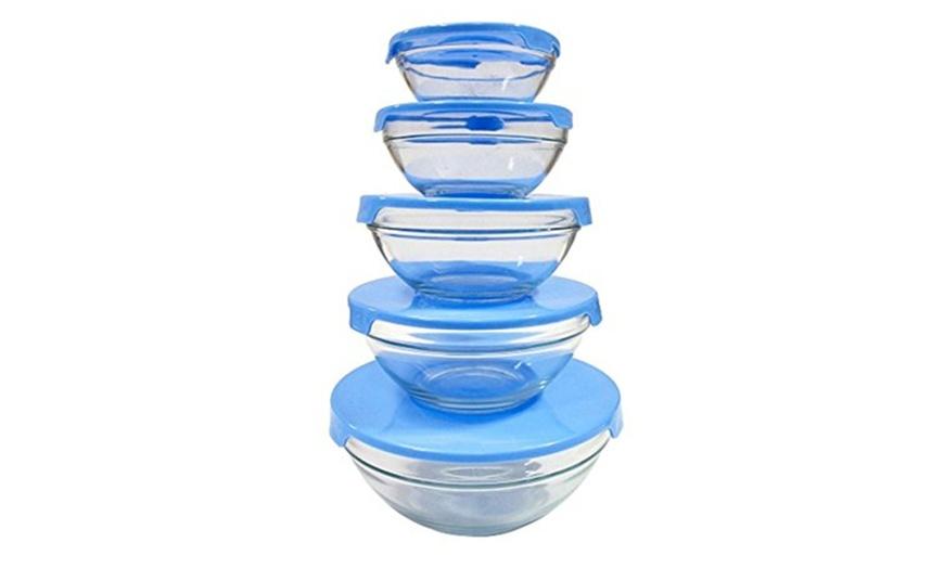 5 piece heavy duty glass bowl set durable heat resistant microwave safe bowls