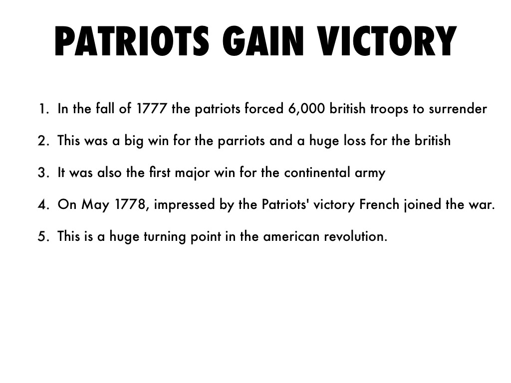 The Battle Of Saratoga By Gracie